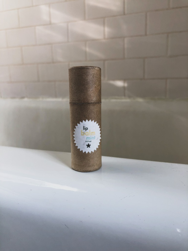 Mint lip balm in zero-waste, compostable packaging